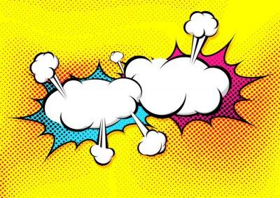 Plakat Mowa wybuch bańki kolizji w stylu pop-art