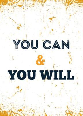 Plakat Możesz i Ty będziesz. Obudź się z określeniem. Szorstki projekt plakatu z typografią. Faza wektorowa na ciemnym tle. Najlepsze do plakatów, projektowania kart, banerów mediów społecznościowych