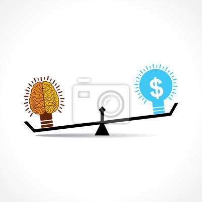 Plakat Mózg jest bardziej wydajny niż ilustracji wektorowych pieniędzy