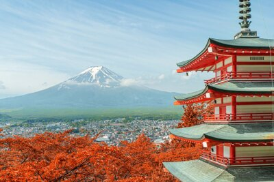 Plakat Mt. Fuji spadek kolory w Japonii.