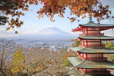 Plakat Mt. Fuji with fall colors in Japan