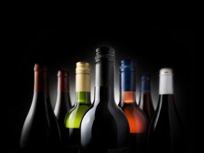 Plakat multi bottles black - Stock Image