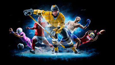 Plakat Multi sport collage football boxing soccer ice hockey on black background