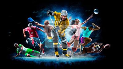 Plakat Multi sport collage football boxing soccer voleyball ice hockey on black background