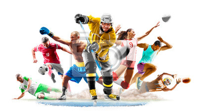 Plakat Multi sport collage football boxing soccer voleyball ice hockey running on white background