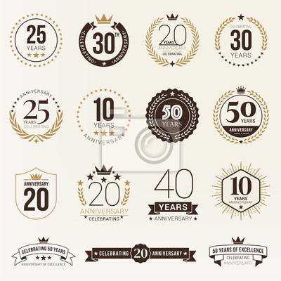 Plakat Multiple years anniversary celebration logotype. anniversaries logo set
