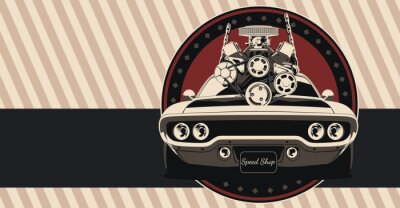 Plakat Muscle car in vector. Illustration in vintage colors, shows engine removal.