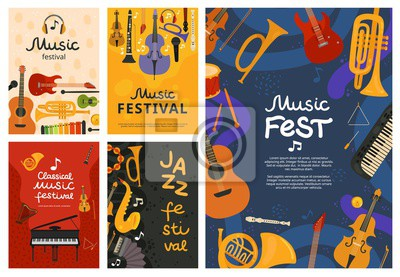 Plakat Music festival. Jazz concert, musical instruments poster design. Guitar and piano, saxophone background. Vector open air song event flyers. Illustration banner, musical guitar and piano instrument