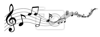 Plakat Music notes wave isolated, group musical notes background – for stock