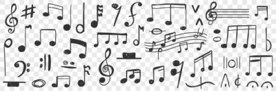 Plakat Musical notes drawings doodle set. Collection of hand drawn musical notation with notes treble clef bass clef stave and notes for writing music and education isolated on transparent background