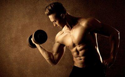 Plakat Muskularny dopasowanie sportowiec kulturysta wagi podnoszenia
