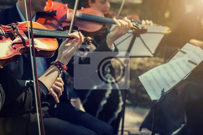 Plakat Muzycy gry na skrzypcach bliska.
