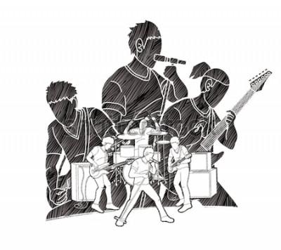 Plakat Muzyk grający muzykę razem, zespół muzyczny, artysta wektor graficzny