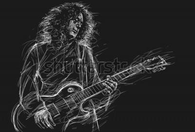 Plakat Muzyk z gitarą. Rockowy gitarzysta gitarzysty abstrakta ilustraci nakreślenia styl z ekspresyjnymi liniami.