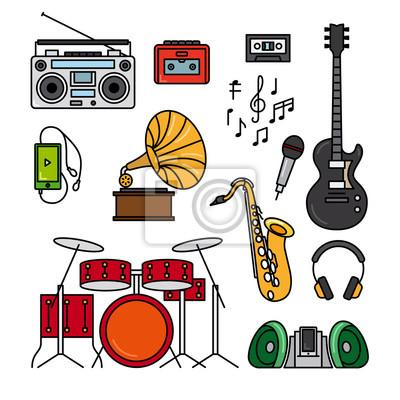 Plakat Muzyka I Instrumenty Muzyczne Czarne Płaskie Ikony Linii Na