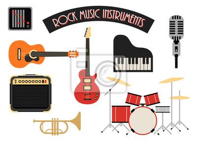 Plakat Muzyka Rock Instrumenty ikony zestaw ilustracji wektorowych