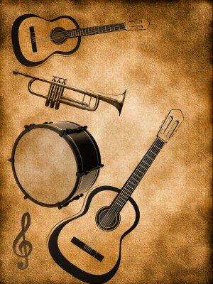 Plakat Muzyka w tle z gitary i bębna