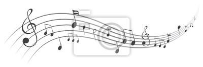 Plakat Muzyka zauważa tło, muzykalne notatki - akcyjny wektor
