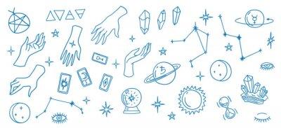 Plakat Mystic Elements Thin Line Icon Set. Vector