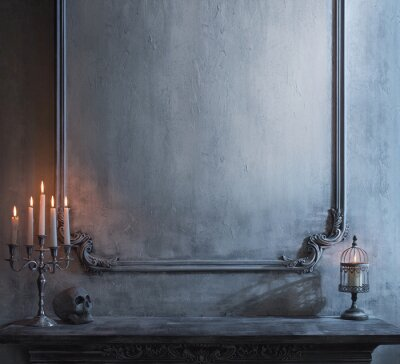Plakat Mystical Halloween still-life background. Skull, candlestick with candles, old fireplace. Horror and witchery.