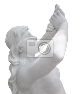 Plakat Naga kobieta odtwarzania muzyki w muszli na białym