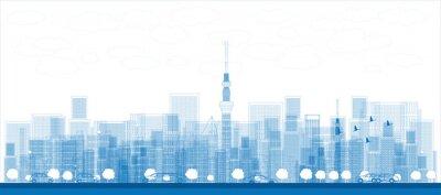 Plakat Nakreślić panoramę z drapacze chmur w Tokio