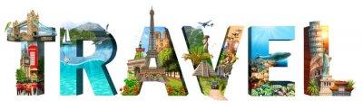 Plakat Napis podróży. Kolaż słynnych miejsc świata. Element reklamy, pocztówki, plakatu i innych elementów. Pojedynczo na białym.