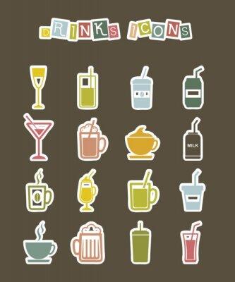 Plakat napoje ikony