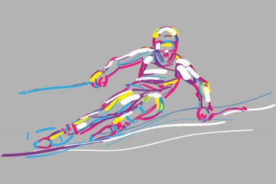 Plakat narciarz WEKTOR
