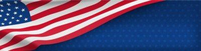 Plakat Naród amerykański transparent z flagi narodowej i miejsca na tekst. Koncepcja wektor niepodległości i wolności. USA święto państwowe. Tradycyjny patriotyczny tło z falowanie flaga amerykańską