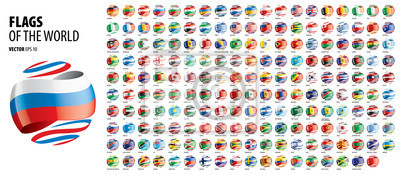 Plakat National flags of the countries. Vector illustration on white background