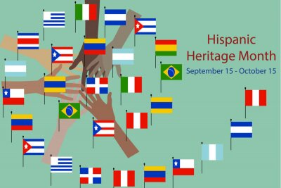 Plakat National Hispanic heritage month and culture theme Vector illustration, hands with different color and Flags of America.