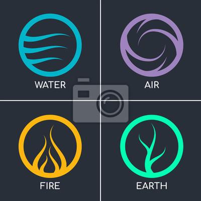 Plakat Natura 4 elementy w okręgu streszczenie ikona znak z wodą, ogniem, ziemią, powietrzem. projekt wektor