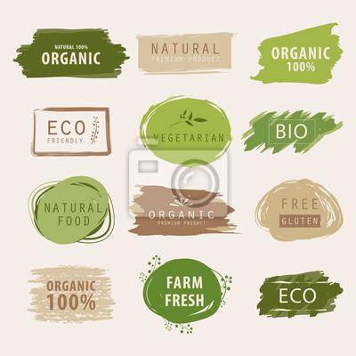 Plakat naturalny i ekologiczny zielony sztandar lub projekt etykiety. element świeżego produktu gospodarstwa.