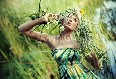 Plakat Nature-style portrait of a young woman