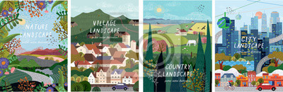 Plakat Nature, village, country, city landscapes. Vector illustration of natural, urban and rustic background for poster, banner, card, brochure or cover.