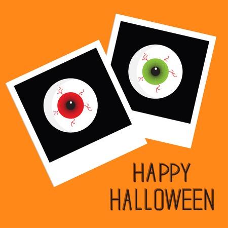 Natychmiastowe zdjęcie z krwawymi smugami gałki ocznej. Happy Halloween karty. Płaska konstrukcja stylu. Ilustracji wektorowych