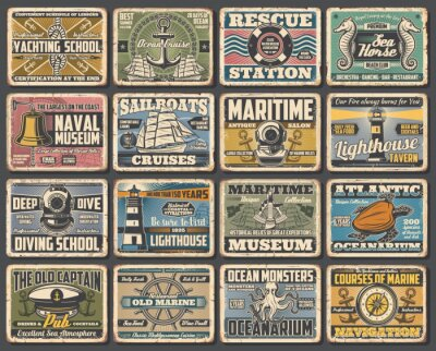 Plakat Nautical seafaring and marine vintage retro vector posters. Sea diving and yachting school, naval ships lighthouse museum and Atlantic oceanarium, marine navigation and beach lifeguard rescue station