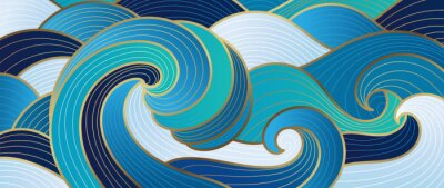 Plakat Navy blue Gold abstract wave line arts background vector. Luxury wall paper design for prints, wall arts and home decoration, cover and packaging design.