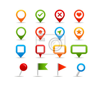 Nawigacja ikony - Illustration.Vector ilustracją pineski na mapie i etykiet.