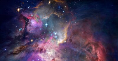 Plakat Nebula and galaxies in space. Abstract cosmos background