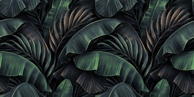 Plakat Neon bright banana leaves, palms on dark background. Seamless pattern. Vintage tropical 3d illustration. Luxury modern wallpapers, fabric printing, cloth, tapestries, posters, invintations, cards
