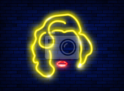 Plakat neon silhouette of a beautiful sexy blonde girl with red lips. Lighted sign of a diva woman with a minimalist style. Night bright advertisement. Vector illustration in luminous signboard neon style