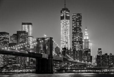 Plakat New York by night. Brooklyn Bridge, Lower Manhattan – Black an