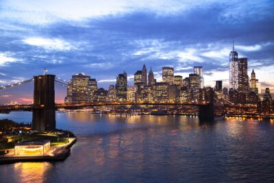 Plakat New York City Brooklyn Bridge panoramę miasta