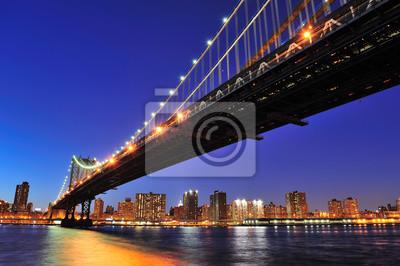 Plakat New York City Manhattan Bridge nad East River