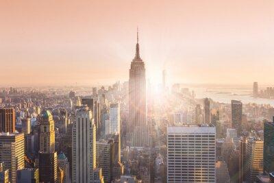 Plakat New York City Manhattan skyline słońca.