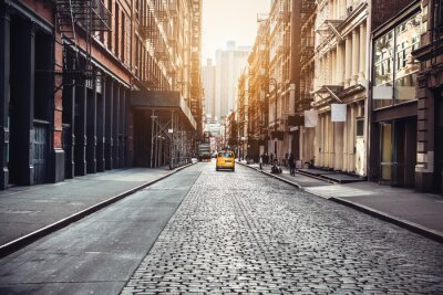 Plakat New York City Manhattan SoHo street at sunset time background