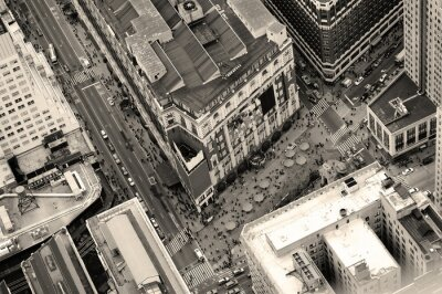 Plakat New York City Manhattan street aerial view black and white