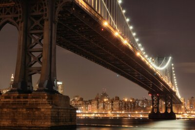 Plakat New York City Skyline i Manhattan Bridge w nocy